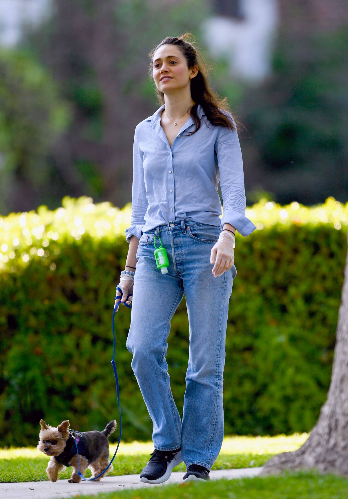 EMMY ROSSUM Out with Her Dogs in Los Angeles 04/01/2020 ...