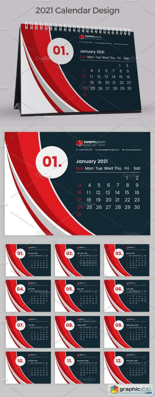 Red Calendar 2021 » Free Download Vector Stock Image ...