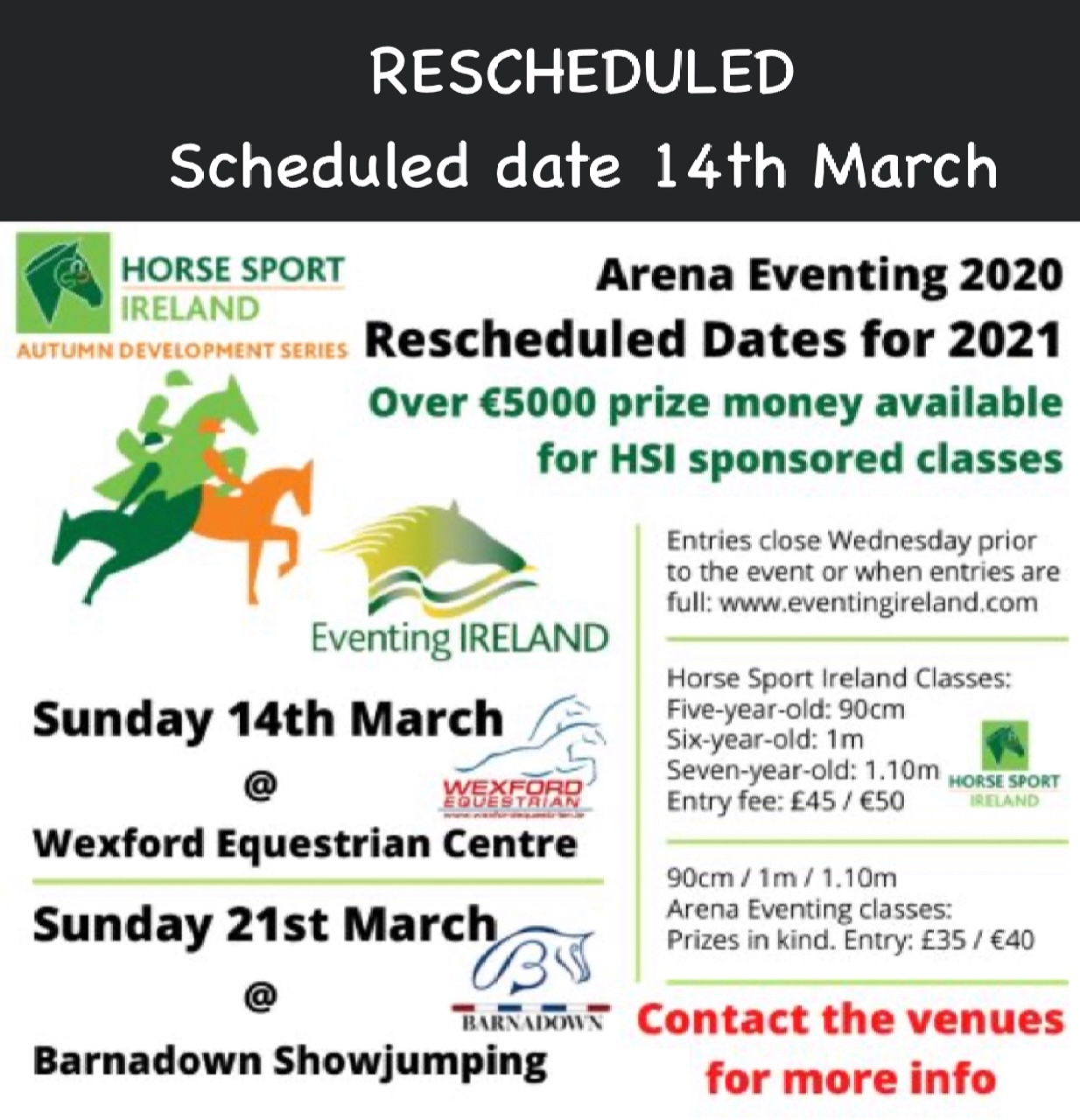 HSI ARENA EVENT 14th March 2021 - rescheduled - Wexford ...